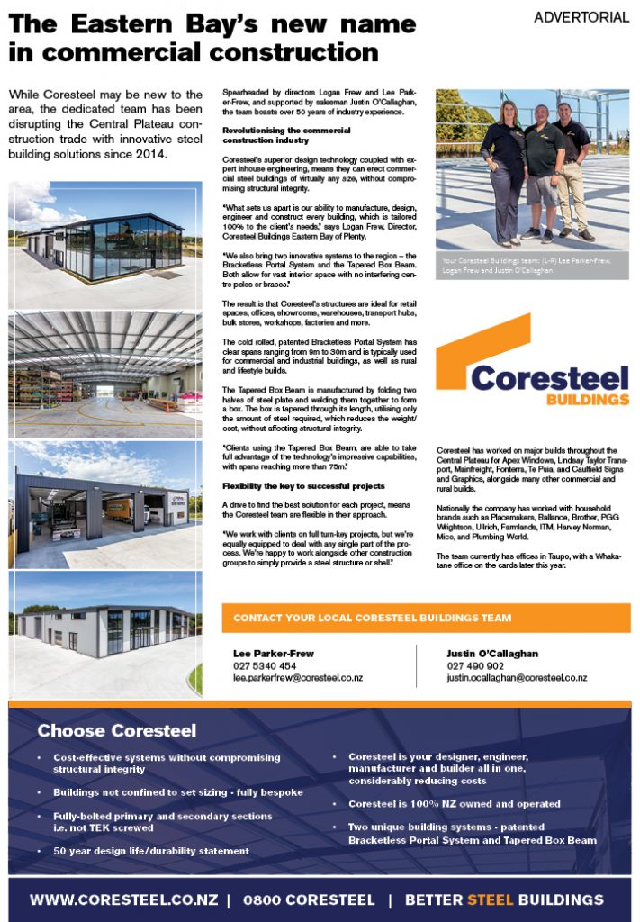 Newspaper feature for Coresteel Buildings