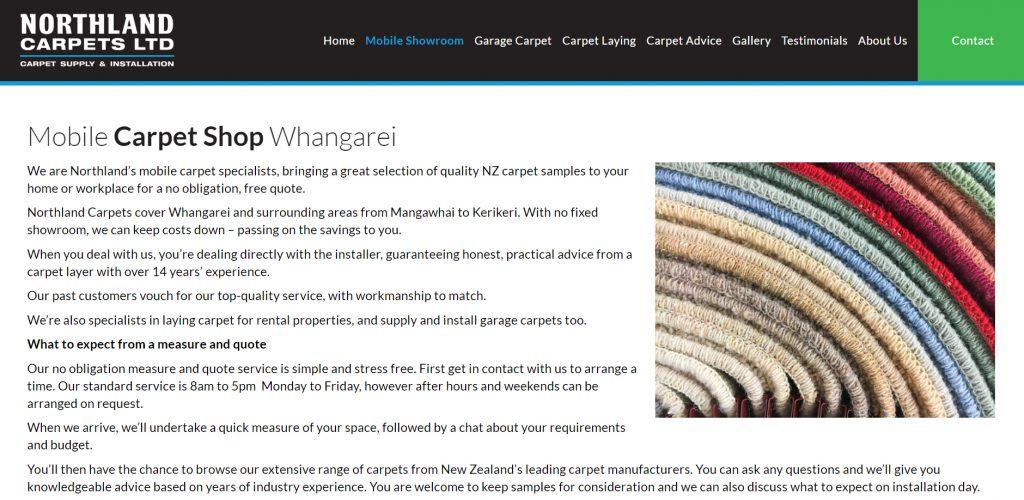 Northland Carpets Ltd website copywriting